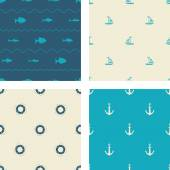 Set of sea summer seamless patterns. Seamless textures for your design. Were used three colours.