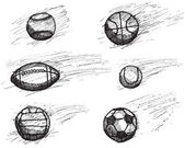 Ball sketch set with shadow and dynamic effect isolated on white background