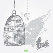 Vector grunge romantic elements set - cage, hearts in cage