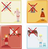 A vector illustration of four child safety icons