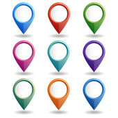 Vector illustration Set of multi-colored map pointers GPS location symbol Flat design style Collection of blank markers for your targets signs and icons