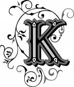 Beautifully decorated English alphabets letter K