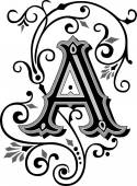 Beautifully decorated English alphabets letter A