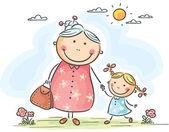 Dívka a její babička na procházce