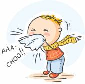 Cartoon child has got flu and is sneezing
