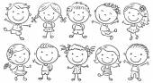 Ten happy cartoon kids colored in a doodle style pencil imitation no gradients isolated