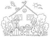 Famiglia felice del fumetto con due bambini e animali domestici vicino alla loro casa con un giardino, bianco e nero