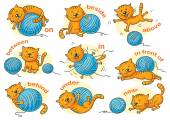 Cartoon cat in different poses to illustrate the prepositions of place no gradients