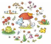 Hand drawn flowers insects and animals for kids designs no gradients