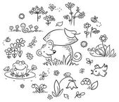 Hand drawn flowers insects and animals for kids designs black and white outline