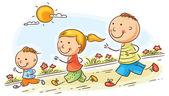 Happy cartoon family jogging together no gradients