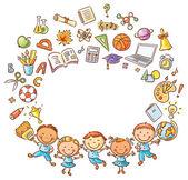 Šťastný schoolkids s mnoha školních věcí jako rám s mezerou kopie