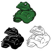 Frogs Strong Mascots set collection tattooVector illustration on white background