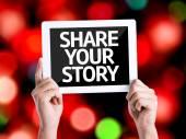 Počítač tablet pc s textem sdílet svůj příběh