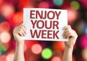 Godere la vostra settimana scheda con sfondo colorato con indicatori luminosi defocused