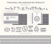 Traditional and handcrafted products design kit with tribal badges logo templates and endless borders Monochrome Hand drawn ethnic style (European cave painting)