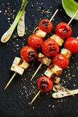 Halloumi cheese and cherry tomato skewers
