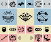 Vector Fitness and Gym Logotypes, Icons and Labels Templates
