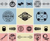 Vektorové Fitness a posilovna logotypy, ikony a popisky šablony