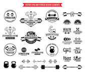Fitness gym labels templates badges fitness equipment icons and design elements
