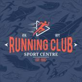 Running club label sport shoes icons running man icons seamless pattern background