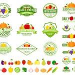 Постер, плакат: Fruits and Vegetables Logos Labels Fruits and Vegetables Icons