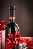 Chistmas gifts and wine bottle