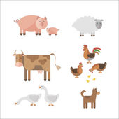 Farm animals in flat style Can be used for web games: sprites nd tile sets