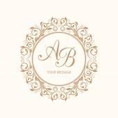 Elegant floral monogram design template for one or two letters  Wedding monogram Calligraphic elegant ornament Vector illustration