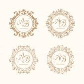Set of elegant floral monogram design templates for one or two letters  Wedding monogram Calligraphic elegant ornament Business sign monogram identity for restaurant boutique cafe hotel heraldic jewelry