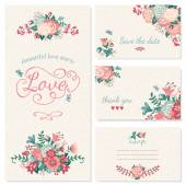 Beautiful vintage wedding set Wedding invitation thank you card save the date cards