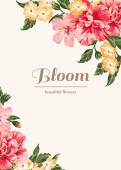 Vintage wedding invitation with colorful flowers Vector illustration