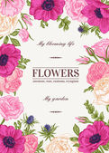 Floral vector background with colorful flowers Anemone rose eustoma eustoma