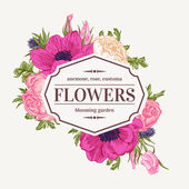 Vintage vector frame with summer flowers Anemone rose eustoma eryngium