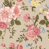 Seamless floral pattern with bouquet of colorful flowers on a beige background Peonies roses sweet peas bell Vector illustration