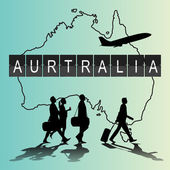Infographic silhouette people in the airport for australia flight