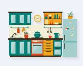 Kitchen with furniture and long shadows Flat style vector illustration