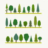 Forest elements - trees and fir-trees spruce Flat style vector illustration