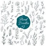 Постер, плакат: Floral doodles set