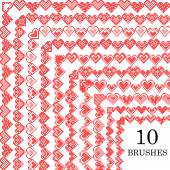 Set of 10 pattern brushes with corners Abstract red hearts Embroidery Cross stitch