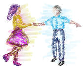 Child dancing vector illustration