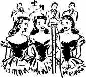 A group of '40s style gals singing into a microphone