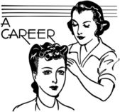 A Career In Hairdressing - Retro Clip Art black and white