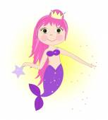 Cute mermaid girl with pink hair vector background