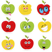 Apples cartoon expressions smileys vector background