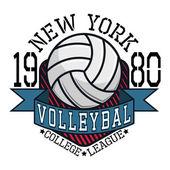 College volejbal liga nové Yorkt tričko typografie, bolest vektorových