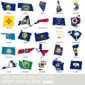 USA state collection maps and flags part 2