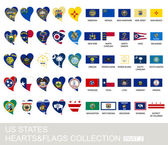 US states set hearts and flags 2  version part 2