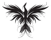 Stylized image of Phoenix, who rise from the ashes in black and white. Works well as a mascot, tattoo or T-shirt graphic.