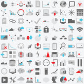 Set of one hundred technology vector icons Data analysisstatistics social web and technology icons over white background